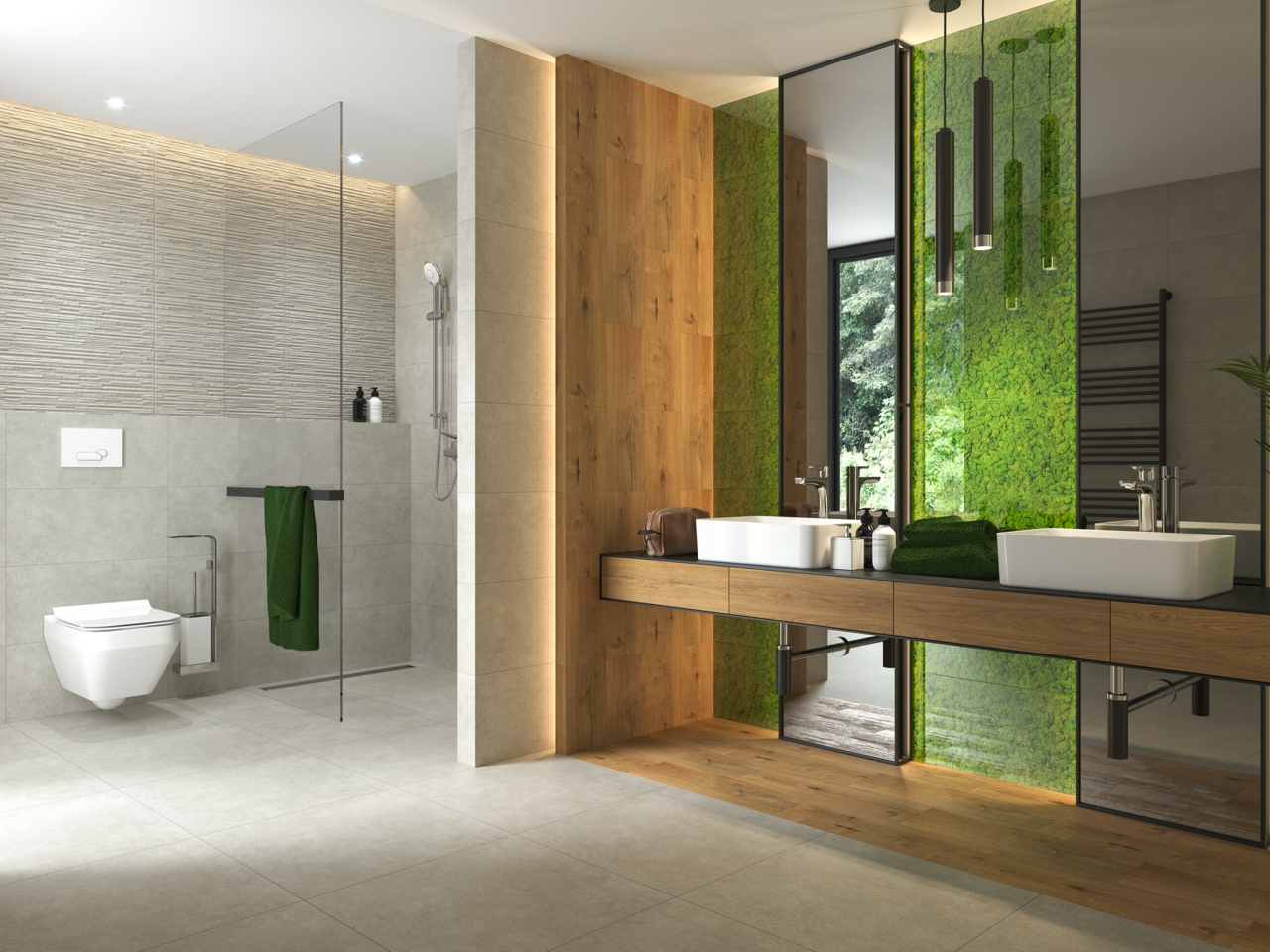 Fresh moss collection - ceramic wood tiles, moss printed tile and concrete tiles