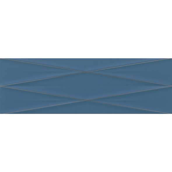GRAVITY Marine Blue Silver Inserto Satin wall tile, 9.5 x 29 inches