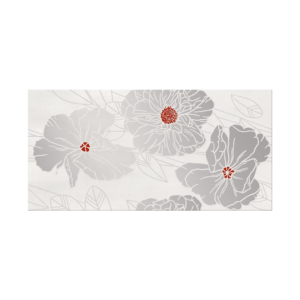 Grissa Grey Inserto Flower decorative wall tile, 11.75 x 23.5