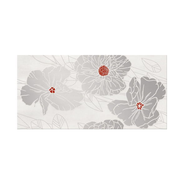 Grissa Grey Inserto Flower decorative wall tile, 11.75 x 23.5